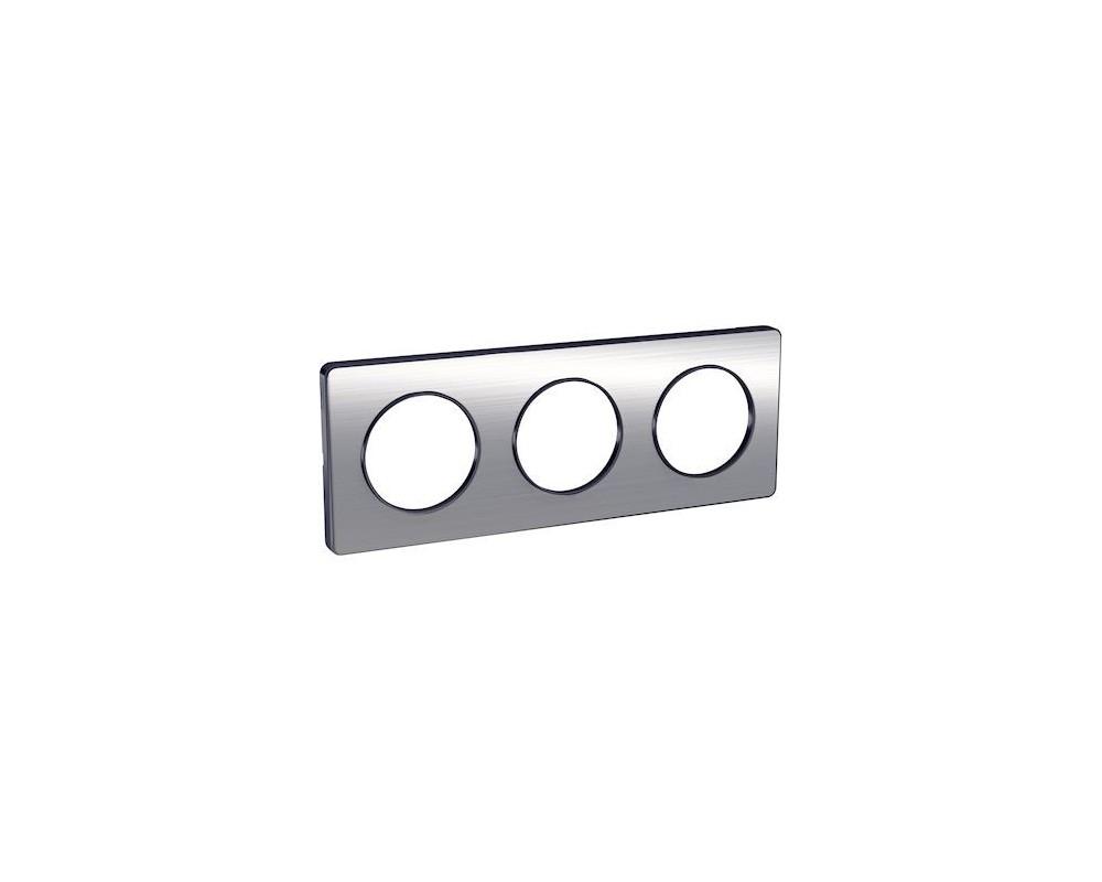 Odace Touch, plaque Aluminium brossé liseré Anth. 3 post. horiz./vert. 71mm - S540806J