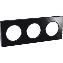 Odace Touch, plaque Miroir brillant fumé avec liseré Anth. 3postes entraxe 71mm - S540806K1