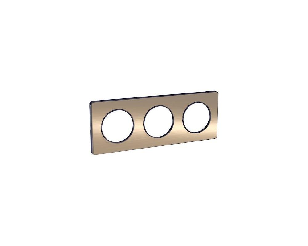 Odace Touch, plaque Bronze brossé liseré Anthracite 3 postes horiz./vert. 71mm - S540806L