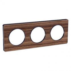 Odace Touch, plaque Bois Zeb avec liseré Anth 3 postes horiz/vert entraxe 71mm - S540806P4