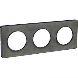 Odace Touch, plaque Ardoise avec liseré Anth. 3 postes horiz/vert. entraxe 71mm - S540806V