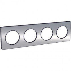 Odace Touch, plaque Alminium brossé liseré Anth. 4 post. horiz./vert. 71mm - S540808J