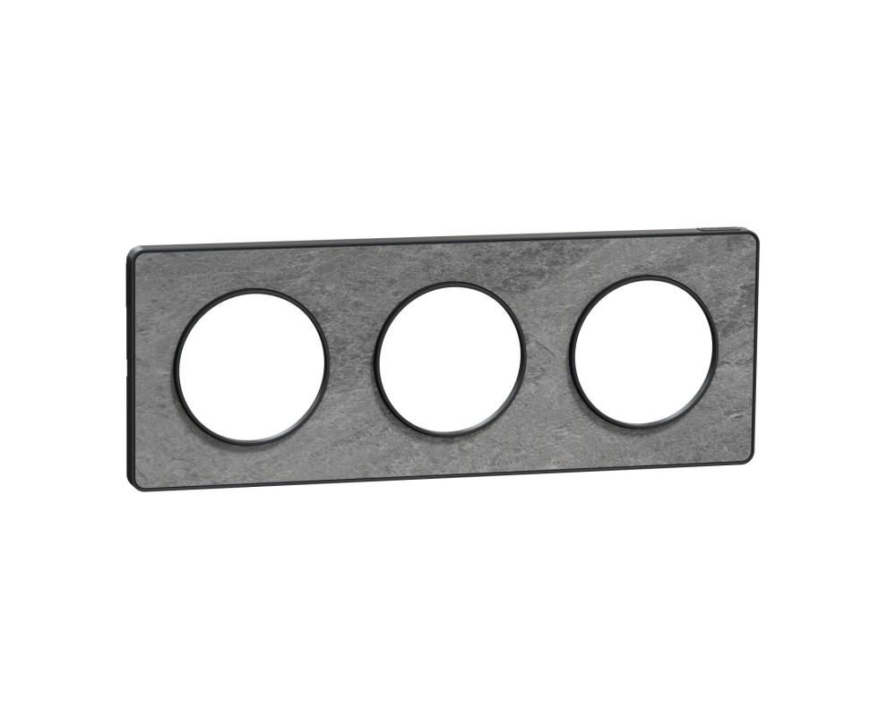Odace Touch, plaque Pierre Glt avec liseré Anth 3 postes horiz/vert entraxe 71mm - S540806U