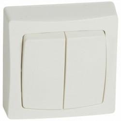 Double va-et-vient Appareillage saillie complet - blanc - 086020