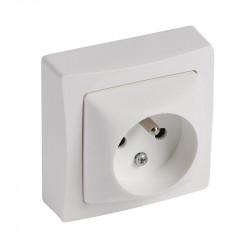 Prise de courant 2P+T à bornes automatiques Appareillage saillie complet - blanc - 086027