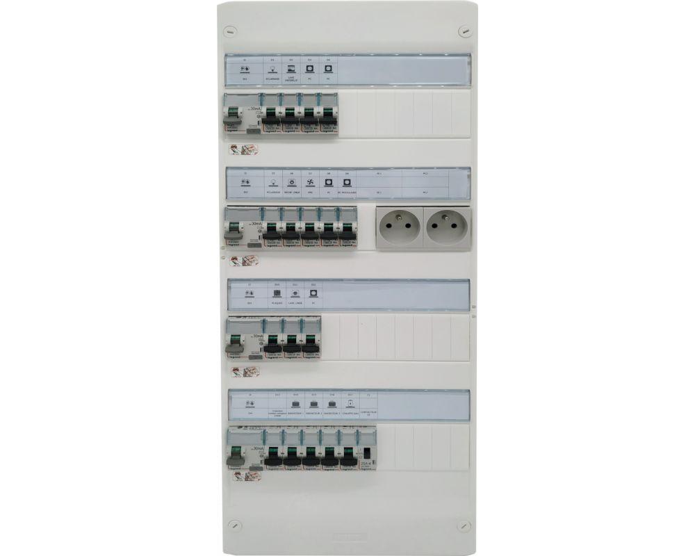 Tableau électrique monté câblé 35 à 100m²  Chauffage électrique -  LEGRAND