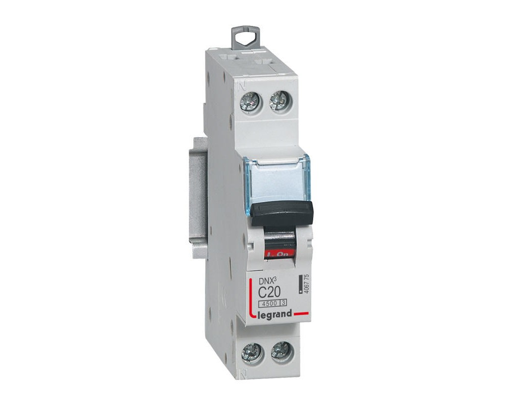 DNX3 Disjoncteur 1P+NG C20 4500A/6KA VIS/VIS- LEGRAND 406775