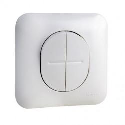 Ovalis - double poussoir à fermeture - Blanc RAL9003 - fixation par vis - S260216
