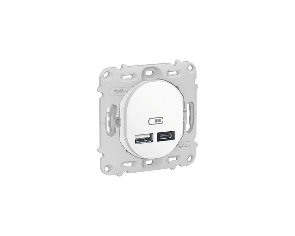 Ovalis - prise USB double - type A+C - Blanc - mécanisme + plaque - 5Vcc - 2,4A - S260401
