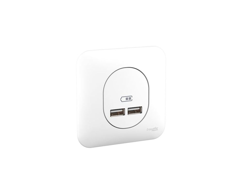 Ovalis - double chargeur usb 2.1 A - blanc - S260407