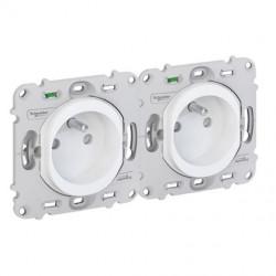 Ovalis - double prise de courant - 2P+T - 2 postes horizontal 71mm - sans plaque - S261069