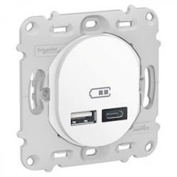 Ovalis - prise USB double - type A+C - Blanc - mécanisme seul - 5Vcc - 2,4A - S261401
