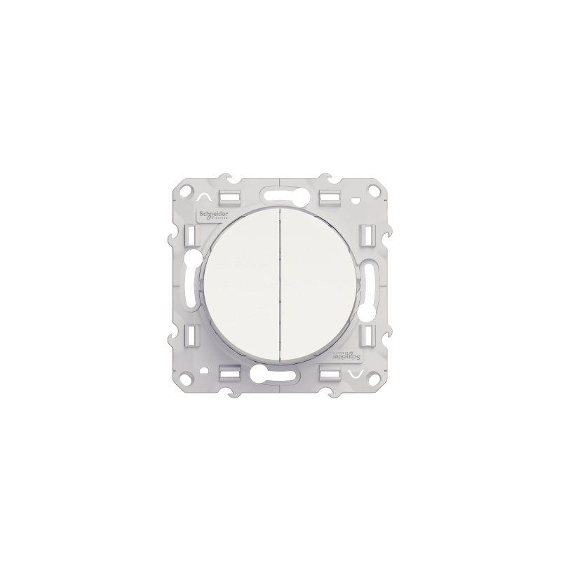 DOUBLE BOUTON POUSSOIR BLANC - Schneider Odace - S520216