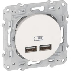 S520407 - Odace - double chargeur usb 2.1 A - blanc | Schneider Electric