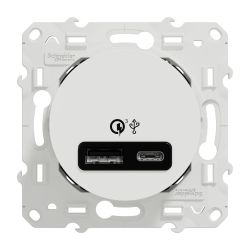 Odace - prise USB double - charge rapide - type A+C - blanc - 18W - 3,4A - S520219