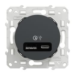 Odace - prise USB double - charge rapide - type A+C - anthracite - 18W - 3,4A - S540219