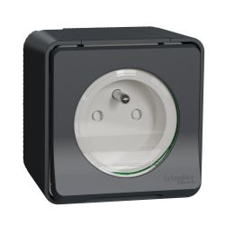 Mureva Styl - Prise courant 2P+T - saillie - IP55 - IK08 - connexion auto - gris - MUR35031