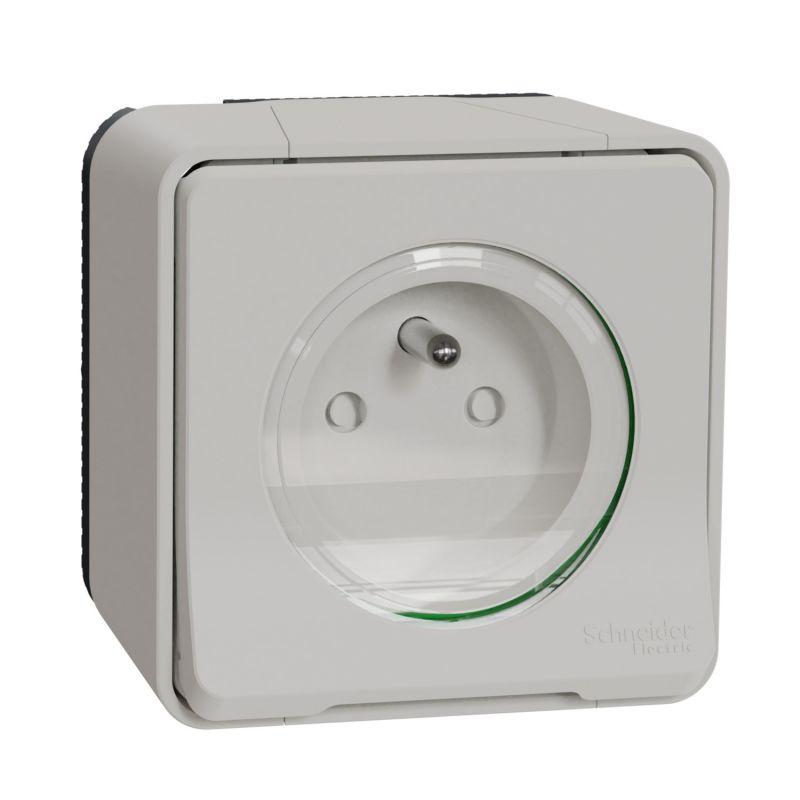 Mureva Styl - Prise de courant 2P+T - saillie - IP55 IK08 - connex auto - blanc - MUR39030