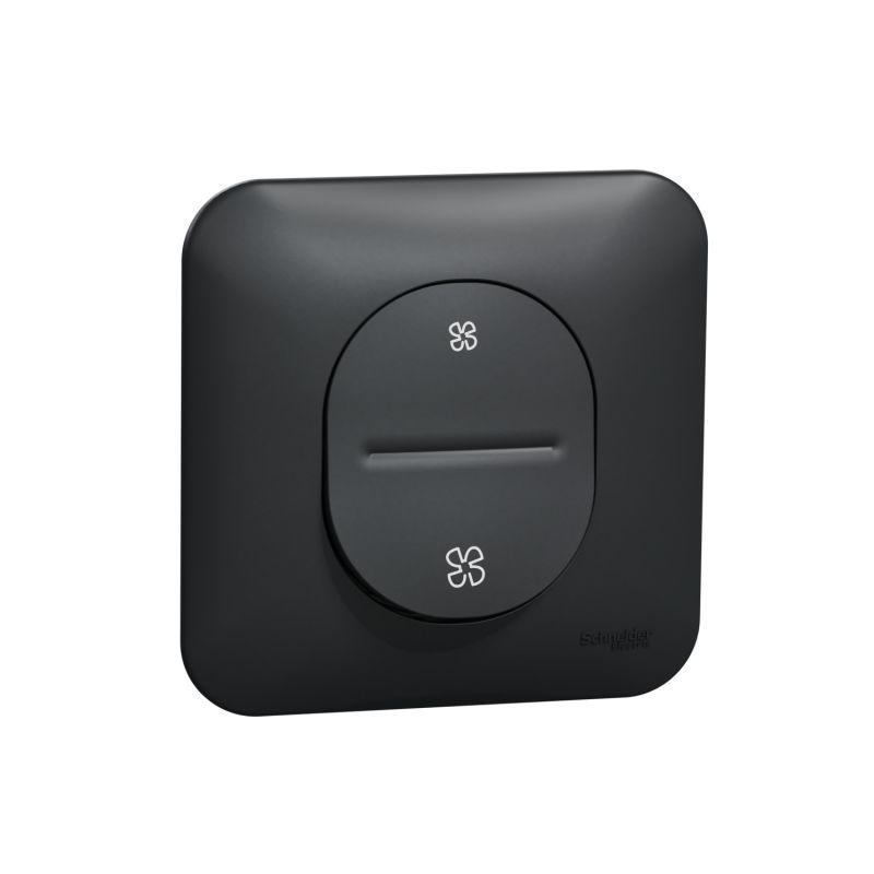 Ovalis - Interrupteur pour VMC - 2 vitesses sans arrêt Avec plaque -Anthracite- S460233