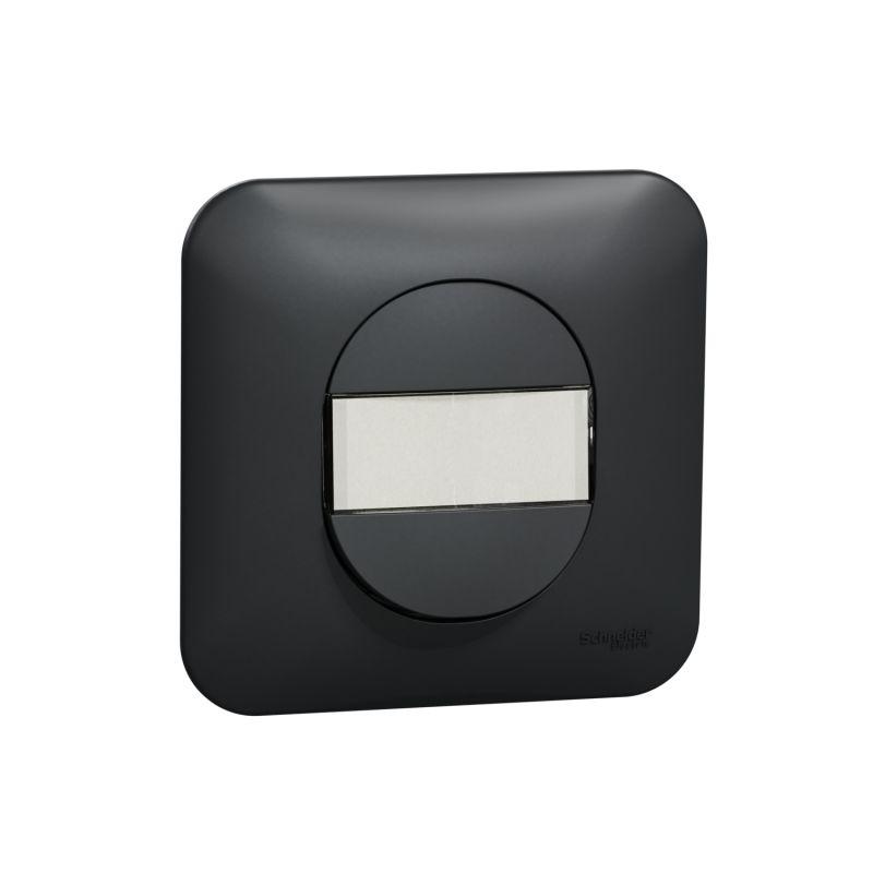 Ovalis - Poussoir à fermeture - avec porte-étiquette Avec plaque -Anthracite- S460266