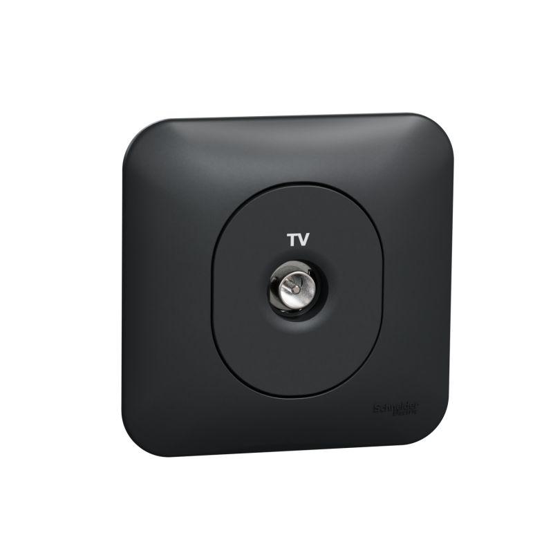 Ovalis - prise TV simple - fixation avec griffesAvec plaque -Anthracite- S465405