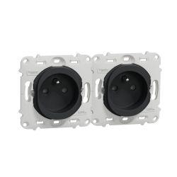 Ovalis - double prise de courant - 2P+T - horizon 71mm - sans plaque -Anthracite- S461069