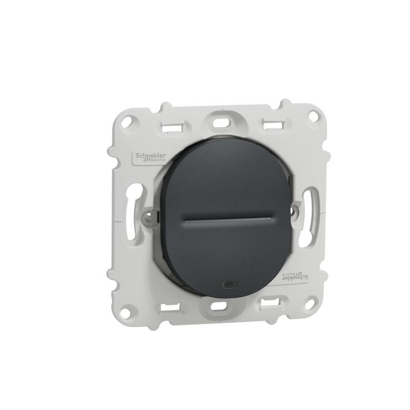 Ovalis - interrupteur va et vient - 10AX - lumineux - sans plaque-Anthracite- S461263