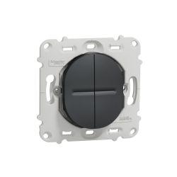 Ovalis - combiné va et vient+poussoir - 10A - sans plaque-Anthracite- S461285