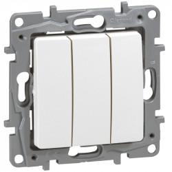 Interrupteur triple Niloe - 10 AX - 250 V - Pur - 664503