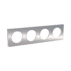 PLAQUE ODACE TOUCH Aluminium Martelé 4 POSTES - Schneider Odace - S520806K